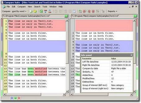 Compare Suite File Comparison Window